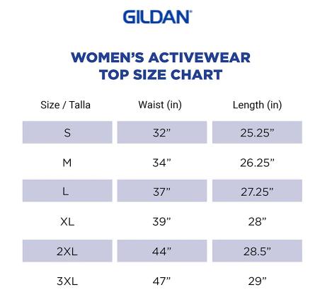 Gildan womens top size chart